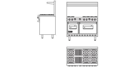 Bloques AutoCAD Gratis de cocina industrial, vistas completas
