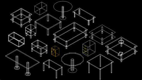 Bloques AutoCAD Gratis de mesillas en 3 dimensiones