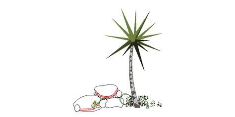 Bloques AutoCAD Gratis de yuca, arbusto en alzado con piedras