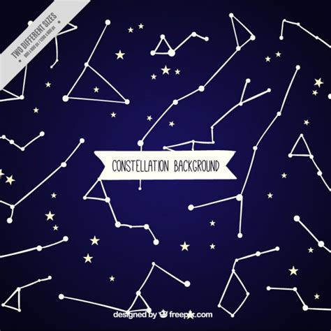Blue background with stars and constellations Vector ...