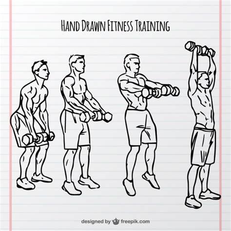 Bocetos de entrenamiento con pesas | Descargar Vectores gratis