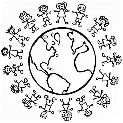 Bola del mundo con niños para colorear - Imagui