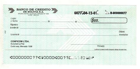 BOLIVIA MODELO DE CHEQUE BANCO DE CREDITO DE BOLIVIA S.A ...