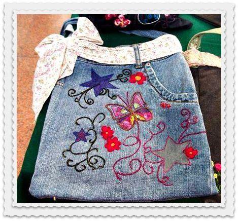 bolso a partir de un blue jeans reciclado bordado a mano ...