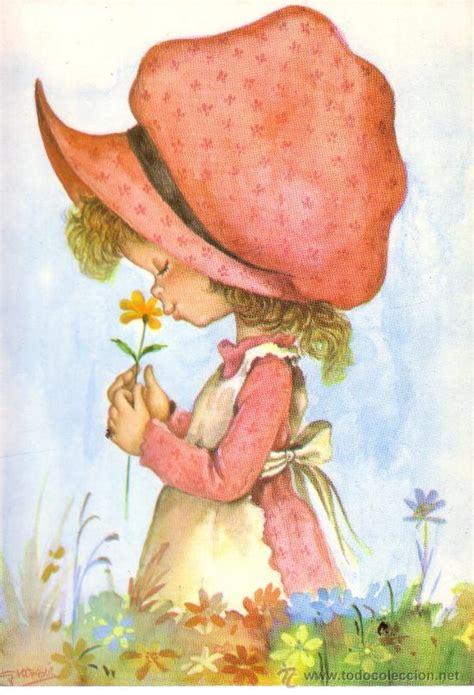 bonita postal con dibujos de una niña oliendo u - Comprar ...