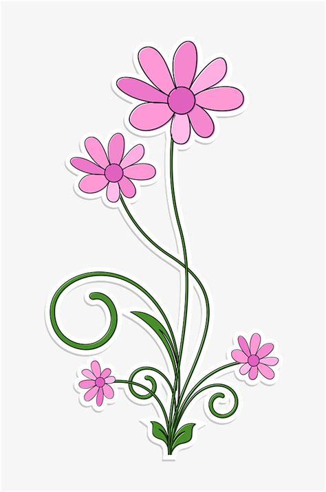 Bonitas Flores De Color Rosa, Pintado A Mano De Dibujos ...