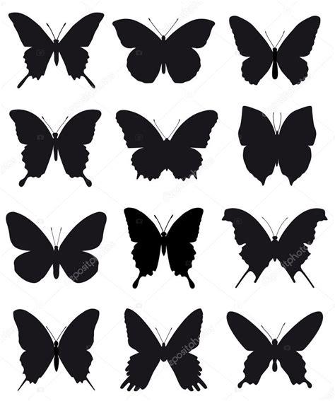 Bonitas siluetas de mariposas para adorno y diseño sobre ...