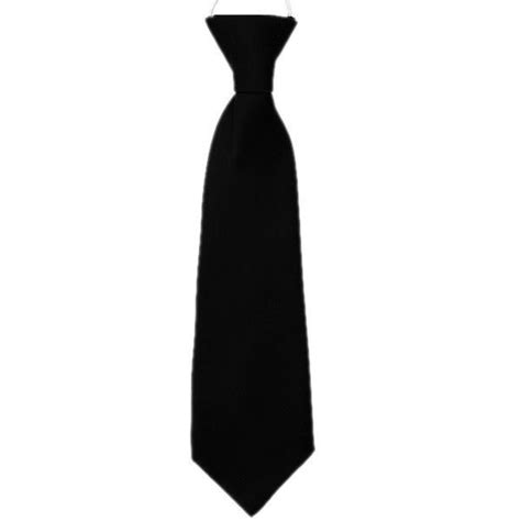 Boys Black Plain Satin Suit Tie on Elastic Pre-tied Formal ...