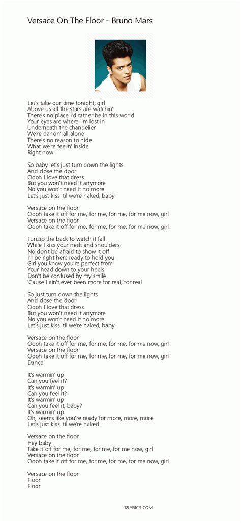 Bruno Mars   Versace On The Floor lyrics, pdf   12lyrics