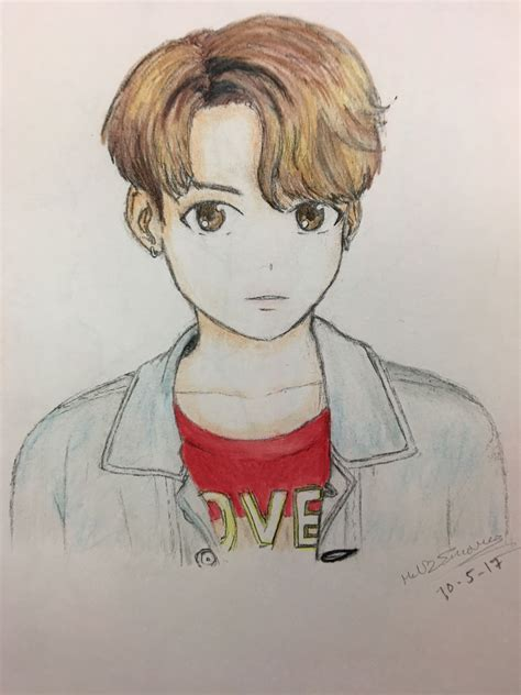 BTS Jeon Jungkook Fanart DNA Drawing/Colored Anime by Mel ...