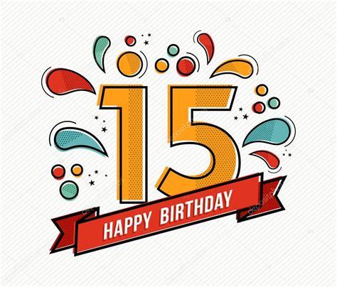Buon compleanno variopinto numero 15 piatto linea design ...