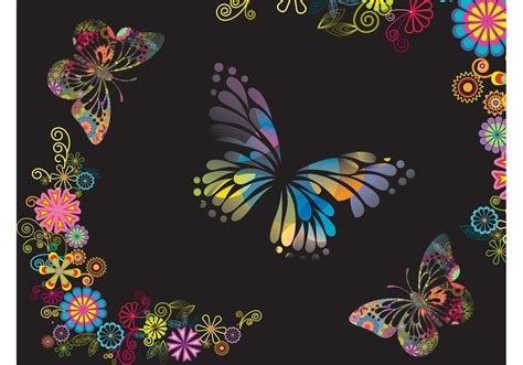 Butterflies And Flowers Background - Download Free Vector ...