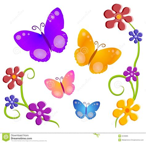 Butterflies Flowers Clip Art 1 Royalty Free Stock Photo ...