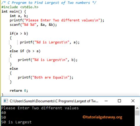 C Program to Find Largest of Two Numbers