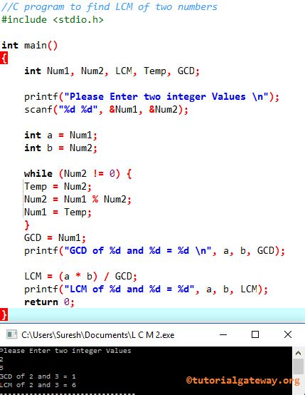 C Program to find LCM of Two Numbers