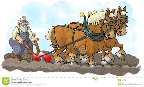 Caballos y arado stock de ilustración. Ilustración de ...
