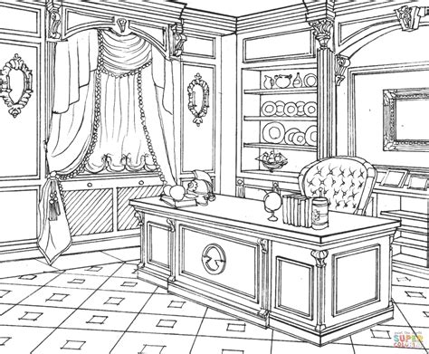 Cabinet In Classic Interior Design   Free Coloring Pages ...