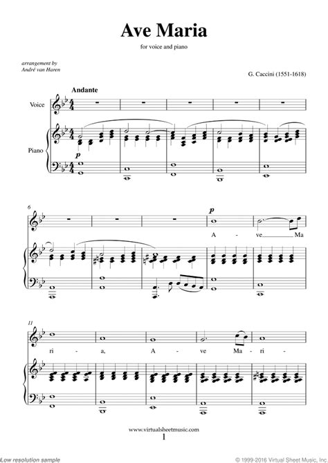 Caccini   Ave Maria sheet music for voice and piano ...
