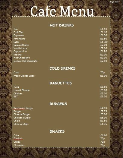 Cafe Menu Ideas | World of Printable and Chart