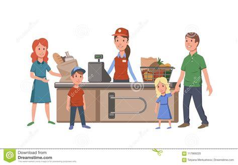 Caixa E Clientes Na Caixa Registadora Na Loja Alimento De ...