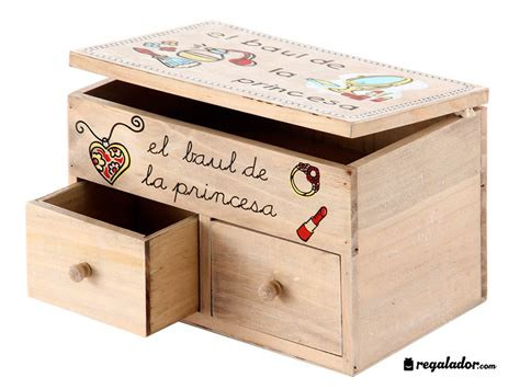 Caja joyero de pino con dos cajones en Regalador.com