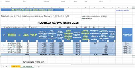 Calcular RC IVA 2016 con planilla tributaria - Bolivia ...
