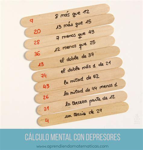 Cálculo mental con depresores   Aprendiendo matemáticas