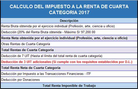 calculo renta 4ta categoria 2017