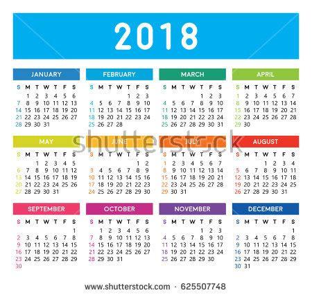 Calendar 2018 Editable Vector Design Eps10 Stock Vector ...