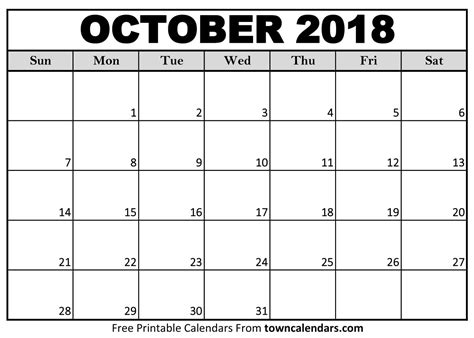 calendar 2018 october printable   Baskan.idai.co