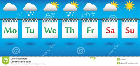 Calendar Weather Forecast For The Week, Icons And Badges ...