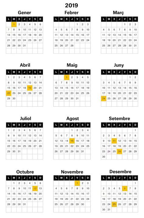 Calendari de festius Catalunya del 2019