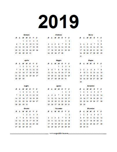 Calendari Word 2019 | Calendari da scaricare gratis