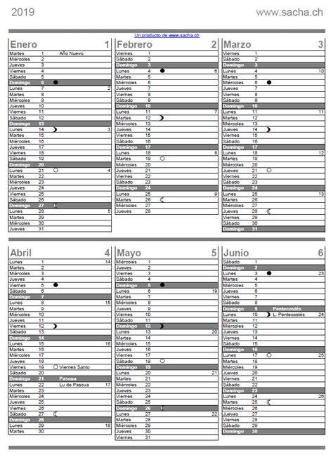 Calendario 2018 - 2019 para imprimir pdf en español gratis