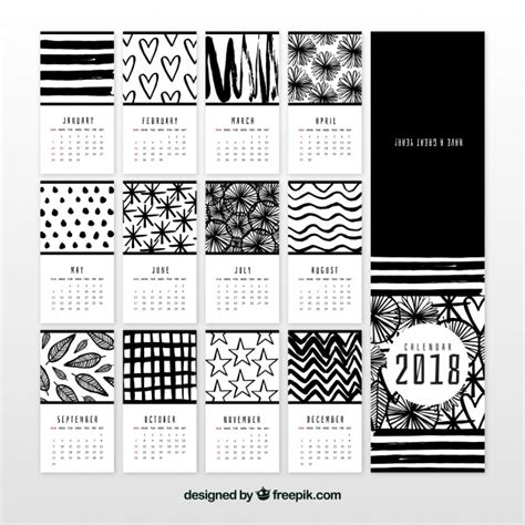 Calendario 2018 blanco y negro | Descargar Vectores gratis