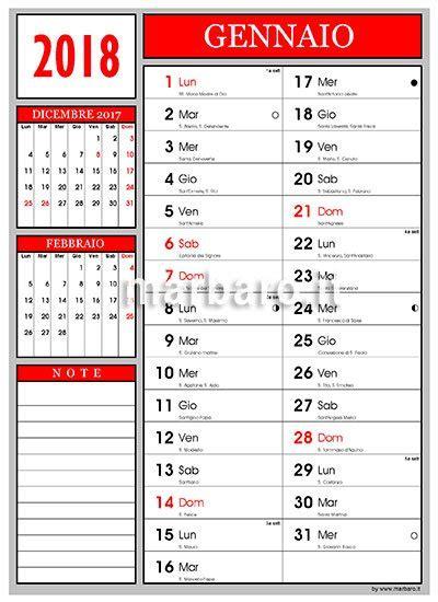 Calendario 2018 con santi lune e numeri settimana da stampare