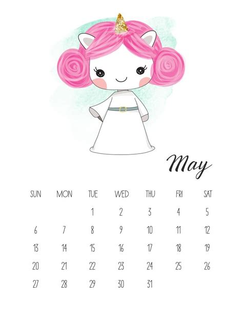 Calendario 2018 de Unicornios para Imprimir Gratis ...