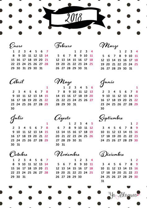 Calendario 2018 en PDF e imprimible gratis con planner en ...