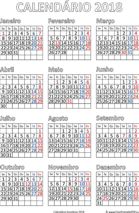 Calendário 2018 Impressão Brasil | PDF para impressão livre