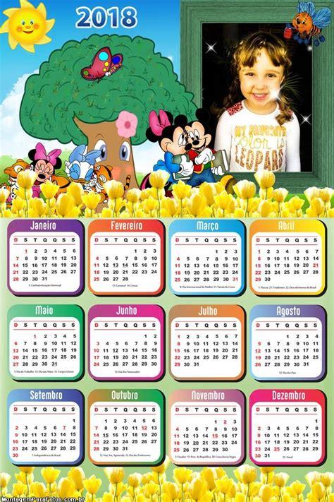 Calendário 2018 Jardim Mickey e Minnie | Montagem para Fotos