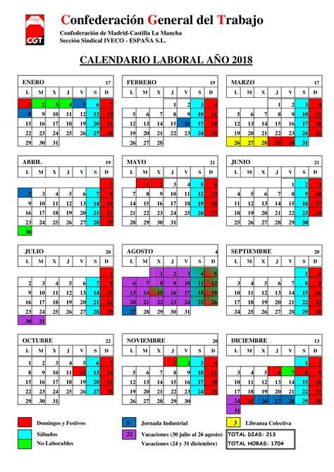 Calendario 2018 Laboral Madrid - takvim kalender HD