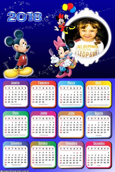 Calendário 2018 Mickey Minnie | Montagem para Fotos