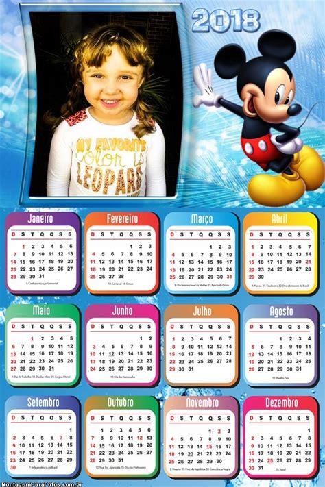 Calendário 2018 Mickey Mouse Disney | Montagem para Fotos