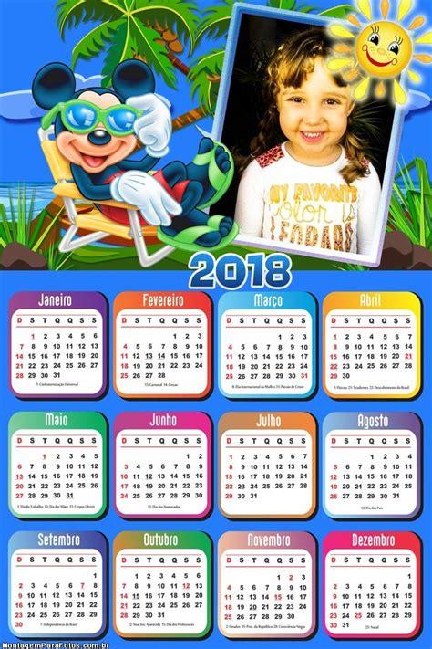 Calendário 2018 Mickey Praia | Montagem para Fotos