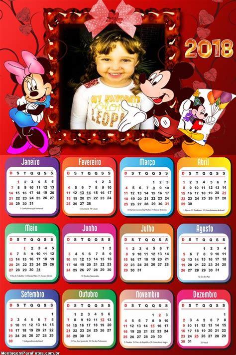 Calendário 2018 Minnie e Mickey Disney | Montagem para Fotos