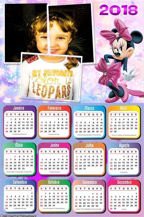 Calendário 2018 Minnie Rosa | Montagem para Fotos