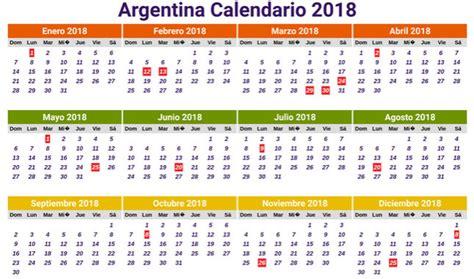 Calendario 2018 para Argentina con Días Festivos ...