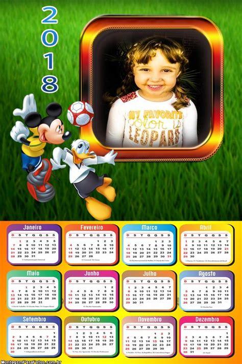 Calendário 2018 Pato Donald e Mickey Futebol | Montagem ...