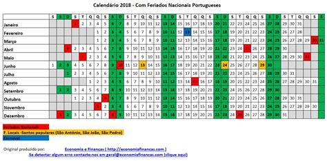 Calendário 2018 Portugal Excel   Economia e Finanças