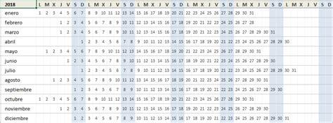 Calendario 2018 Semanas Numeradas : Free Calendar Template